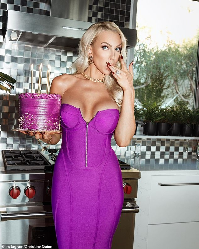 Flirty display:The Selling Sunset star, 32, flaunted her ample assets and enviable curves in a stunning purple strapless bandage dress as she posed in a kitchen for the shoot