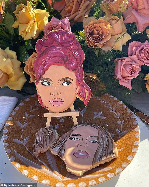 Lifelike: She posted a photo of her look-a-like cookie next to Khloe's which had been partially devoured