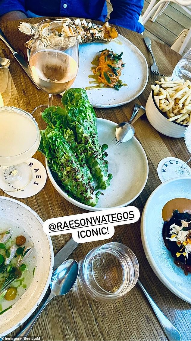 Yum! The family dined for dinner atByron Bay's luxe restaurant Raes on Wategos