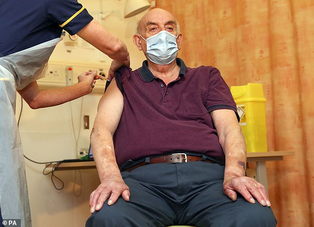 First person: Brian Pinker, a dialysis patient, 82, was the first person to receive the Oxford vaccine, revealing he was 'so happy' to get it and was 'proud' that it was developed in his city.