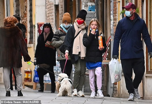 Co-parent: They split in 2016 but Liev Schreiber and Naomi Watts proved they are still on good terms as they walked around Venice with their children, Kai, 12, and Sasha, 13, on Saturday