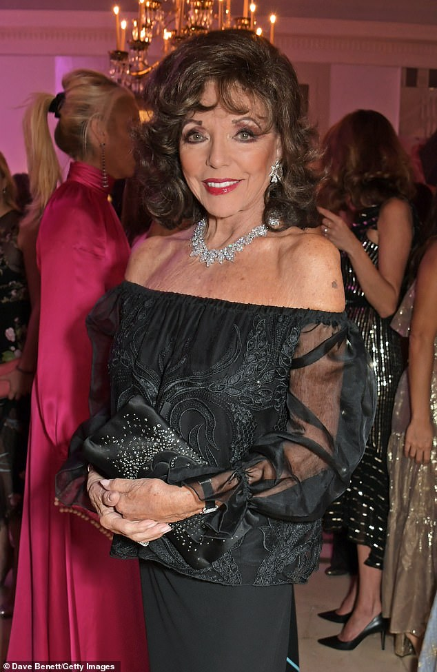 'Painless': The Dynasty star, 87, revealed she received the AstraZeneca coronavirus vaccine as she thanked medics for a 'painless and transparent procedure' (photo from October 2019 )