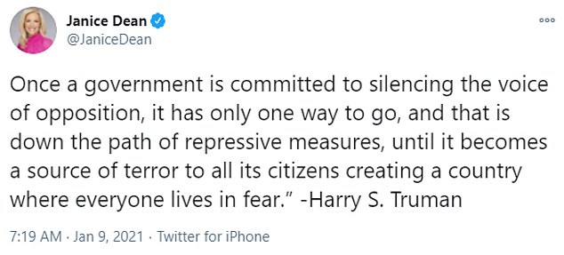 Kelly'sformer colleague Janice Dean, tweeted a quote from Harry S. Truman