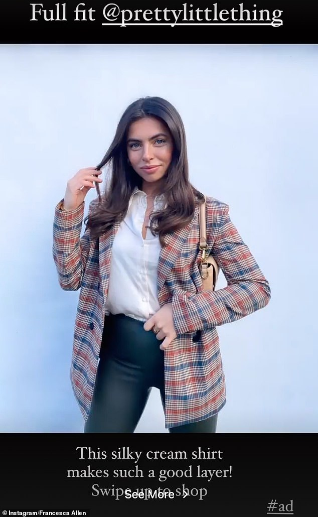 Good value:She also provided a shopping link to PrettyLittleThing's website for any fans who wanted to purchase the blazer she was wearing
