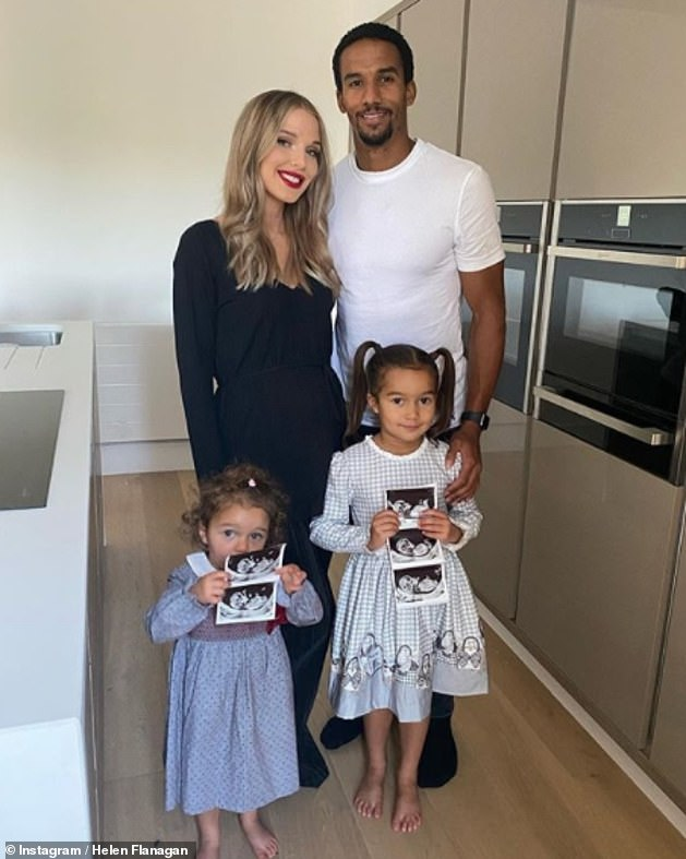 Family first: The influencer is expecting her third child with fiancé Scott Sinclair (pictured with their daughters last year)
