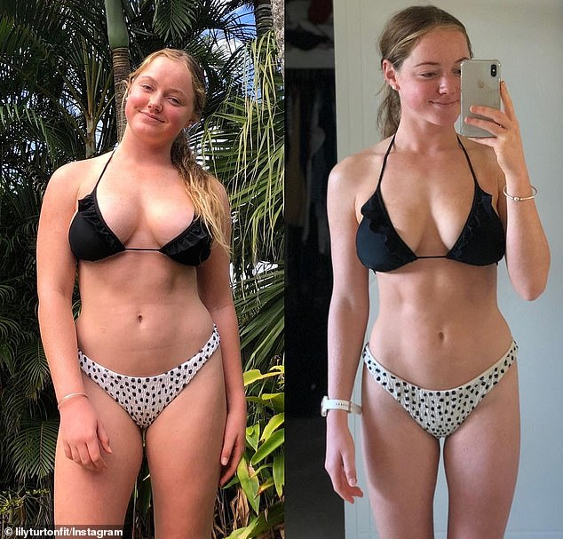 Ms Turton transformed her appearance by incorporating weight training into her exercise routine which had previously focused exclusively on cardio