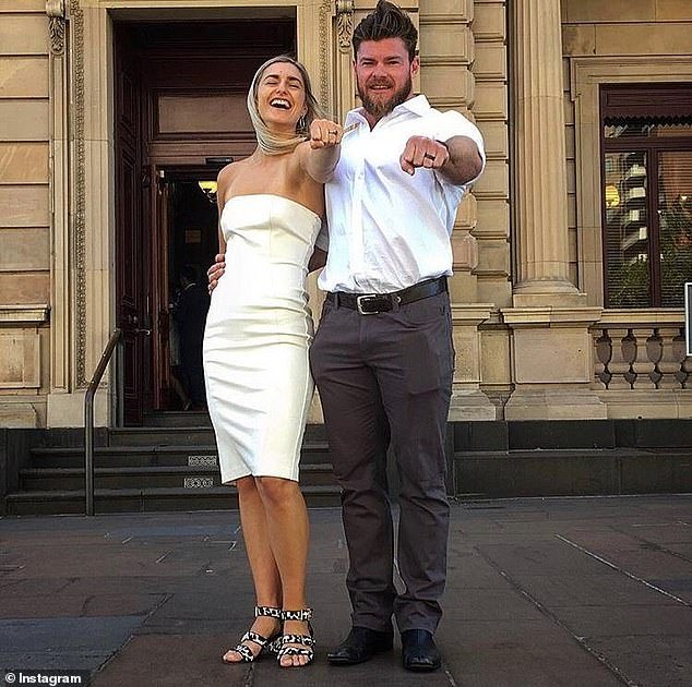 Frances tied the knot in a surprise wedding with Sam on Valentine's Day 2018 - three months after they met (pictured showing off their wedding bands after getting married)