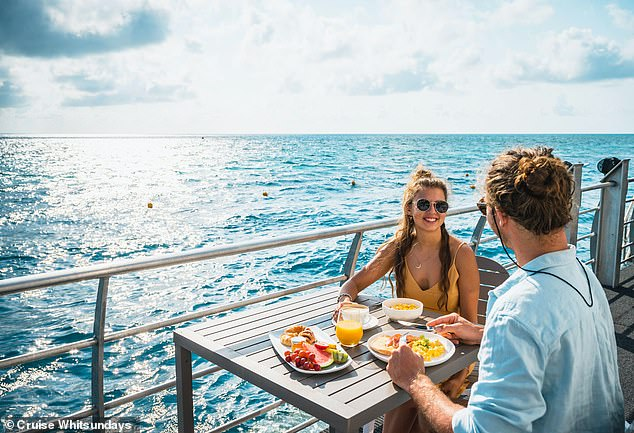 Above deck, guests are treated to tours of the Great Barrier Reef and all-inclusive meals - breakfast, morning and afternoon teas, lunch and dinner - for the duration of their stay