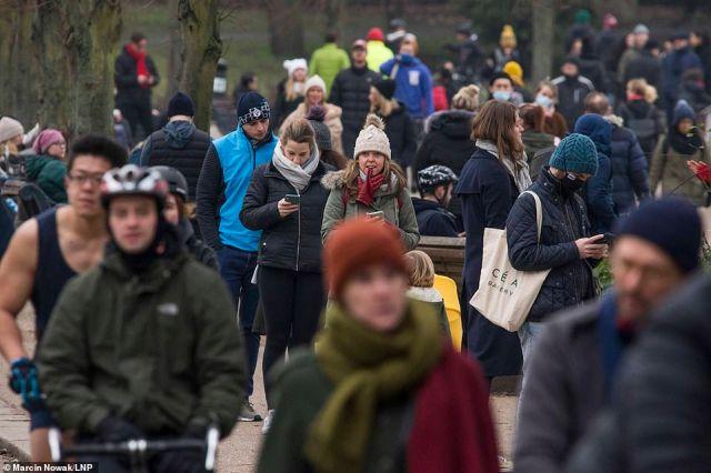 Big crowds were seen walking through Victoria Park in east London yesterday