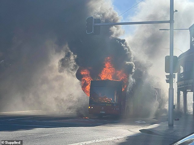 A bus exploded into a ball of flames on Broadway in Sydney's inner west on Monday evening