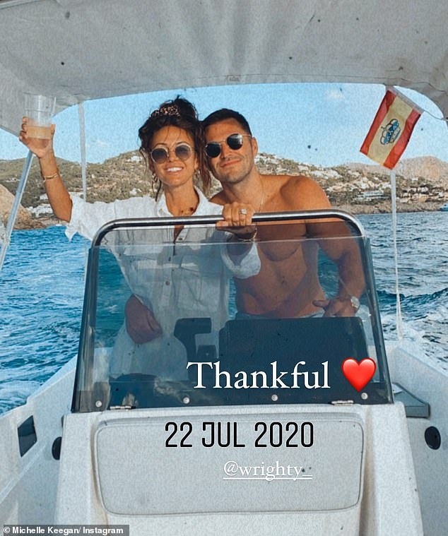 'Thankful':It comes after Michelle reflected on her highlights of 2020 by sharing unseen snaps from holidays, lockdown life and romantic moments with husband Mark Wright last week