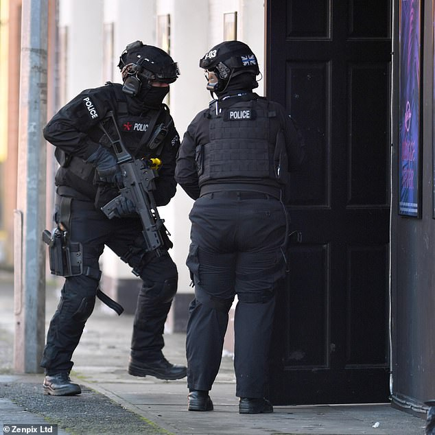Drama: During tense scenes, police officers were seen bursting into the club while the actors filmed the wedding reception within the venue