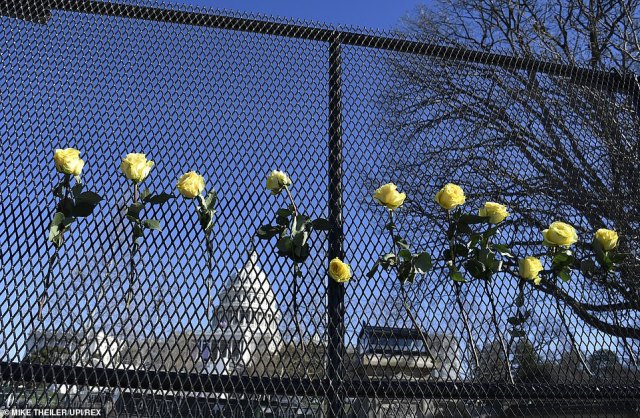 WASHINGTON: The Capitol is seen through a fence on Sunday amid heightened security ahead of next week's inauguration