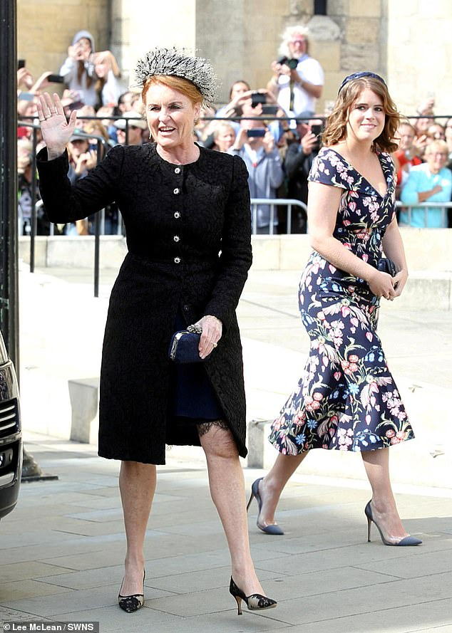 Omid Scobie, who is the co-author of the bombshell Sussex biography Finding Freedom has said Eugenie, 30 and her husband Jack Brooksbank, 34, have moved into the Royal Lodge in Windsor with Sarah Ferguson. Eugenie and Fergie are pictured together in August 2019 at Ellie Goulding's wedding to Caspar Jopling