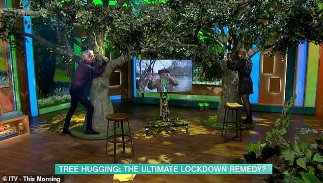 The hypnotherapist convinced hosts Holly Willoughby and Philip Schofield (both pictured) to try out tree hugging while being led through guided meditation