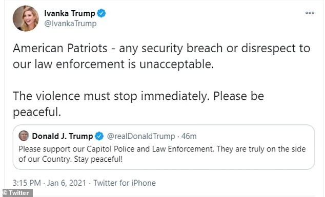 Ivanka Trump se resistió a decirle a los partidarios de su padre que abandonaran el Capitolio y llamó a los manifestantes violentos 'patriotas estadounidenses'