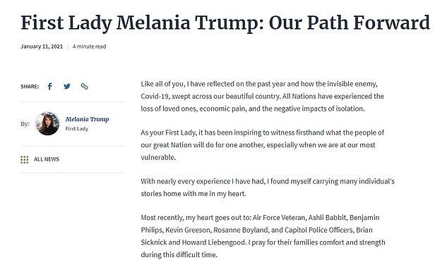 La primera dama emitió una declaración de 600 palabras llamada Our Path Forward que se publicó en el sitio web de la Casa Blanca el lunes temprano.