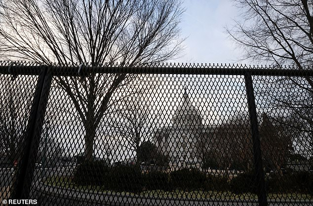 Aseven-foot tall anti-climbing fence now circles the Capitol as part of enhanced security measures