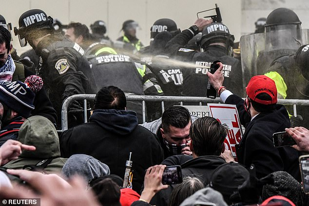 Capitol Police (pictured above) have faced the brunt of the scrutiny for misjudging the security threat given they are in charge of defending the federal building that was overrun. Law enforcement officials have spent the last few days shifting the blame after the chaotic Capitol scenes were described as one of the gravest security lapses in recent US history