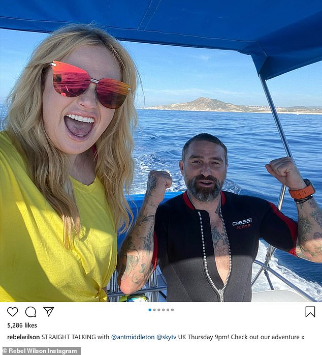 Rebel Wilson wows on boat ride with Ant Middleton in throwback snaps from filming Straight Talking