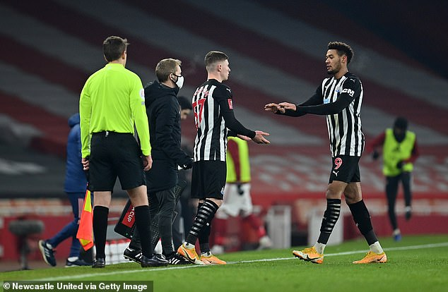 Newcastle's Elliot Anderson (centre, No 57) made his senior debut against Arsenal on Saturday