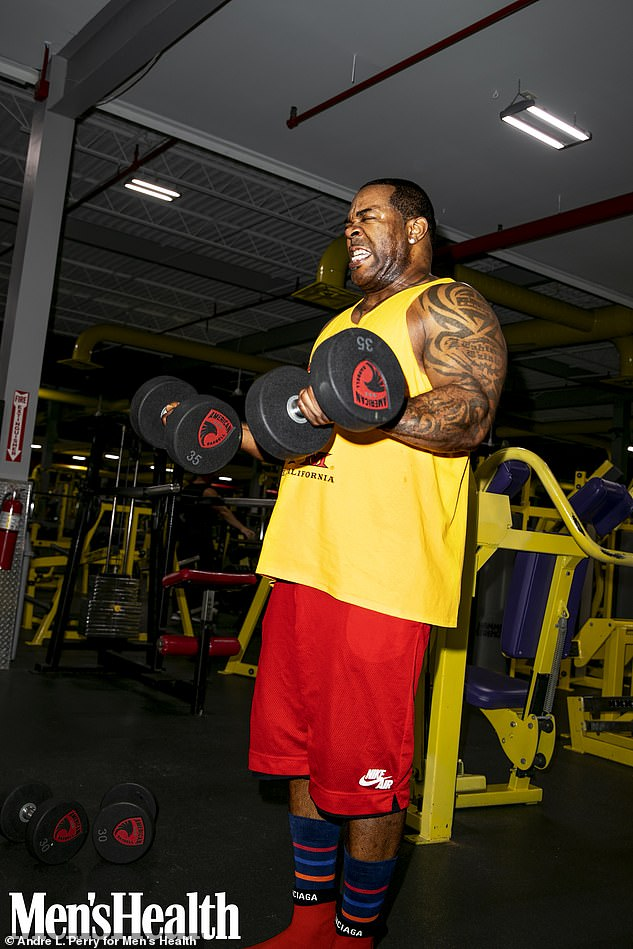 Calling in the experts:Busta revealed that his journey to fitness happened after he slipped into the direct messages of professional bodybuilder Dexter Jackson who trained the Conglomerate star in the gym