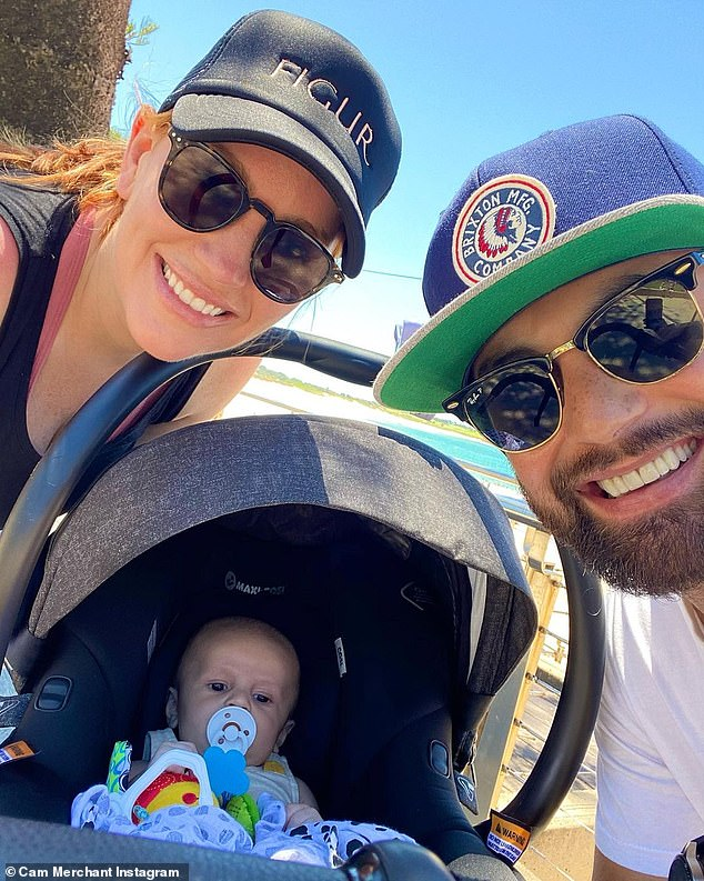 Beach baby! Married At First Sight's Cameron Merchant and Jules Robinson have celebrated one of their son Oliver Chase's first milestones - a trip to the beach!