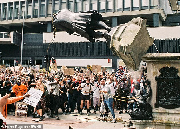 In June, protesters in Bristol pulled down a statue of slave trader Edward Colston (pictured)