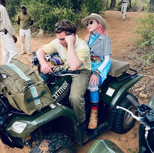 On Wednesday the family flew to Kenya to go on safari. Pictured: Madonna with her son Rocco during their holiday