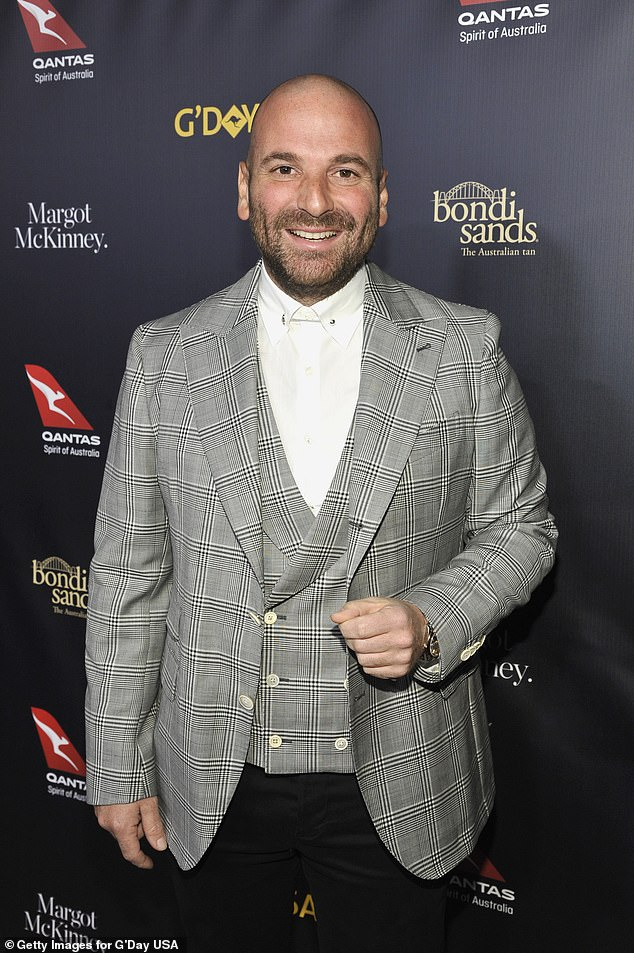 Tidy profit: George Calombaris (pictured at the G'Day USA Gala in LA in January 2019) and his wife, Natalie Tricarico, have sold their Melbourne mansion for almost double what they paid for it in 2013