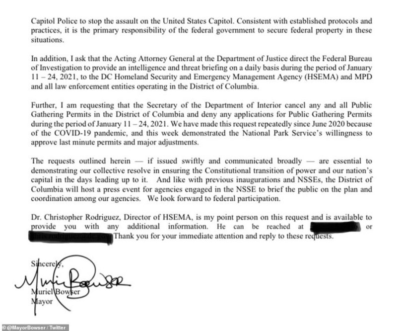 DC Mayor Muriel Bowser's letter to acting DHS Secretary Chad Wolf is shown in full above