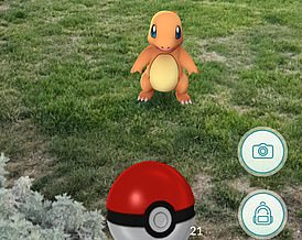 The game shows virtual Pokemon as if they were in real-world locations