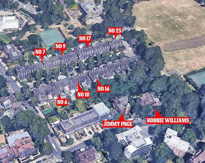 Jimmy Page's next door neighbor is Robbie Williams and there are a number of other wealthy landlords down the street.  Each numbered property in this graphic is currently under construction.
