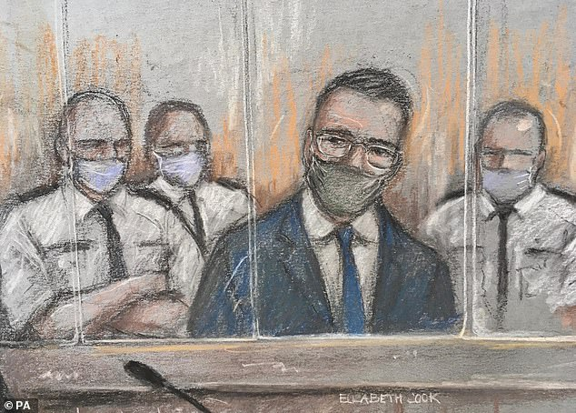 A court artist's sketch of Pawel Relowicz (in blue) appearing at Sheffield Crown Court today