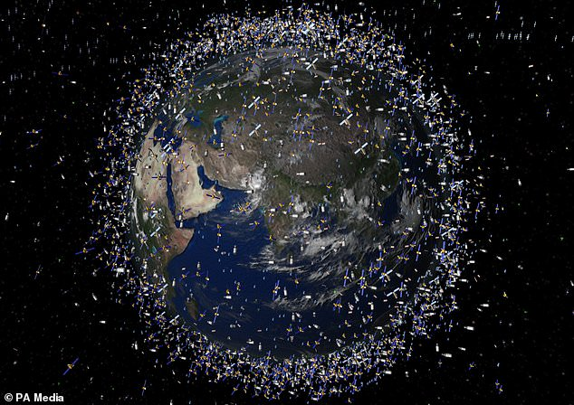 Pieces of unwanted debris left by humans in low-Earth orbit have become the equivalent of a 'new drifting island of plastic' in outer space, an expert has warned (artist's impression)
