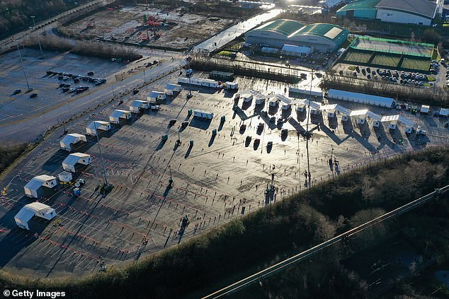 An aerial drone shows Tennis and Football Centre at the Etihad campus in Manchester, which is being used as a mass Covid vaccination centre