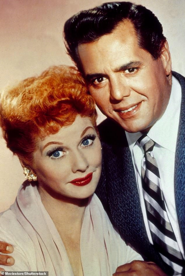 The real deal: Lucille Ball and Desi Arnaz, pictured in 1955, became part of TV history as the stars of the pioneering American sitcom I Love Lucy from 1951 to 1957