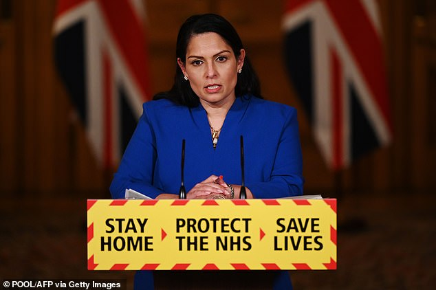 Home Secretary Priti Patel today revealed 2.43million people have now had their first dose, up from 2.29m yesterday. Another 20,000 second doses were also added onto the cumulative total