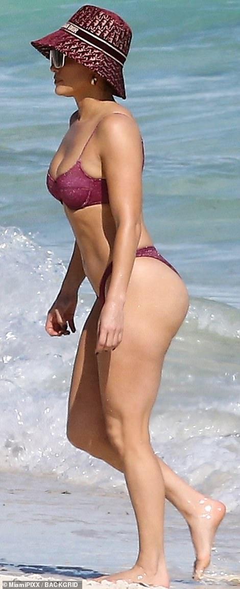 Bikini babe: JLo looked breathtaking as she hit the beach