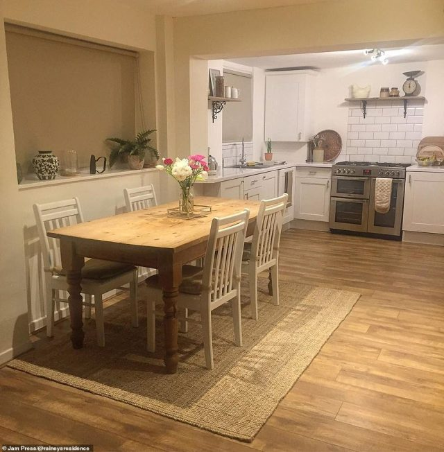The 'glow-up' of the home included merging the kitchen and dining room into an open-plan space. Pictured, after the transformation
