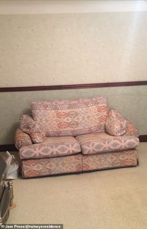 The living room had a dated pink sofa in it and cream and green walls before the changes were made