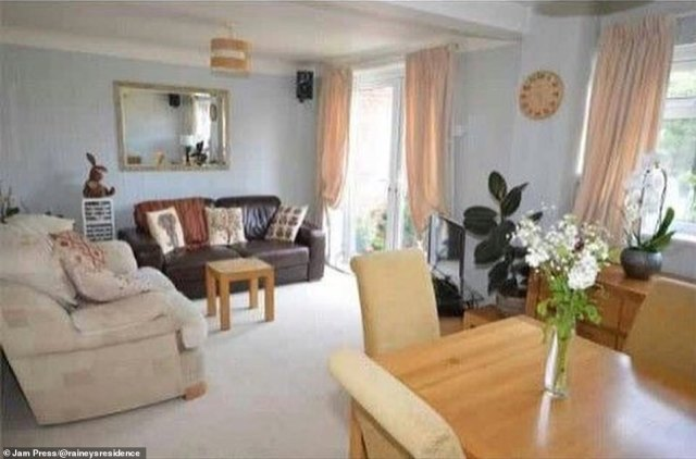 The dining room looked dated and even had pink curtains in it before extensive changes were made to the tired-looking property