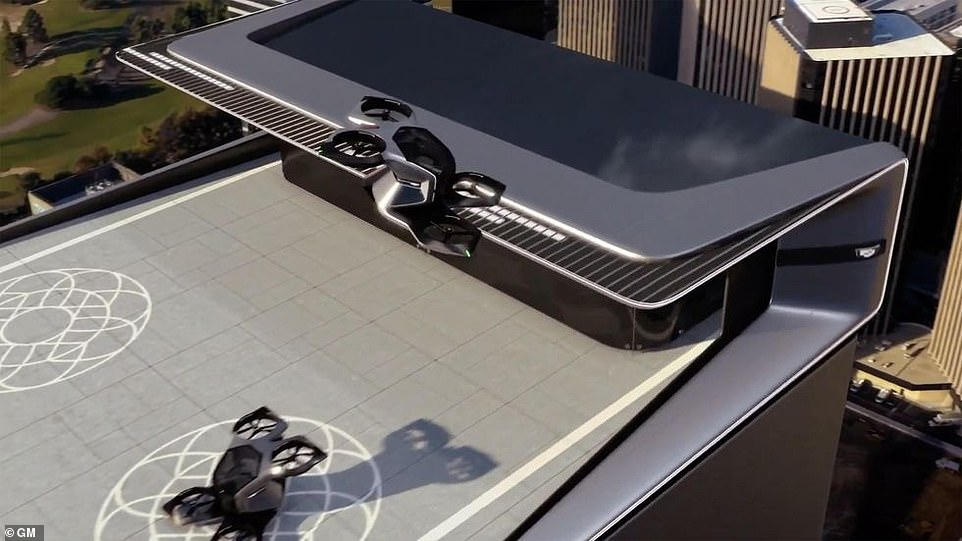 'You've been at the office and now you need to get to a meeting across town,' said Michael Simcoe, GM's vice president of global design, during the video presentation. 'The eVTOL meets you on the roof and drops you at the closest dedicated port closest to your destination'