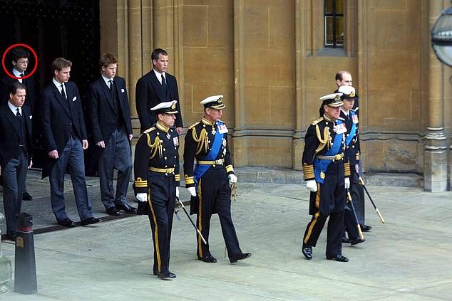 Bowes-Lyon (circled) – who as a 15-year-old walked behind Prince William in the Queen Mother's funeral cortege – issued an apology to his victim as he left court, adding that he is 'greatly ashamed' of his conduct and that 'alcohol is no excuse'