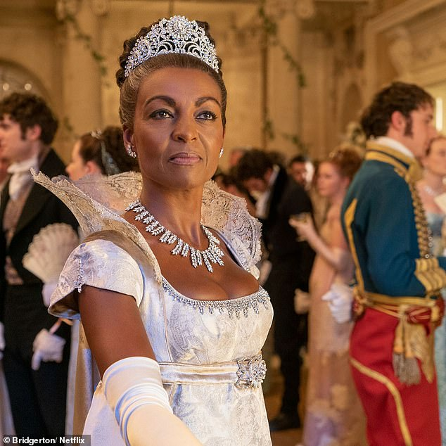 Breathtaking! One exquisite look featuring a diamond tiara and necklace by Lady Danbury (Adjoa Andoh) in the series was estimated to be worth an incredible $13.9million