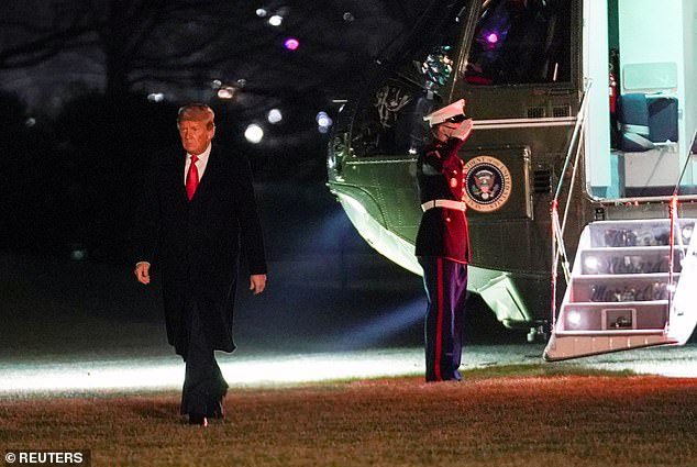 Trump, pictured returning to the White House on Tuesday night, cannot access the page