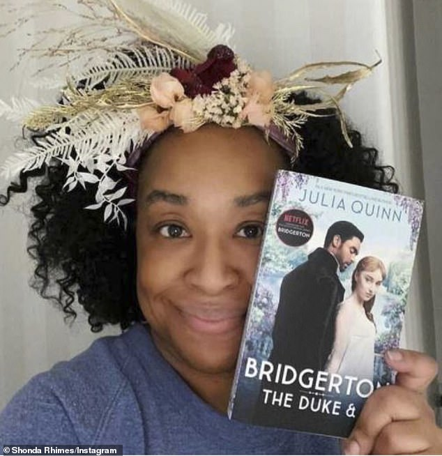 'Enjoy, people! Happy holidays': Shonda Rhimes executive produced Bridgerton - centering on a scheming quasi-couple - which is based on Julia Quinn's best-selling novels (pictured December 25)
