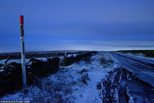 The scene at 7am at Allendale in Northumberland at dawn this morning with the area under a Met Office weather warning
