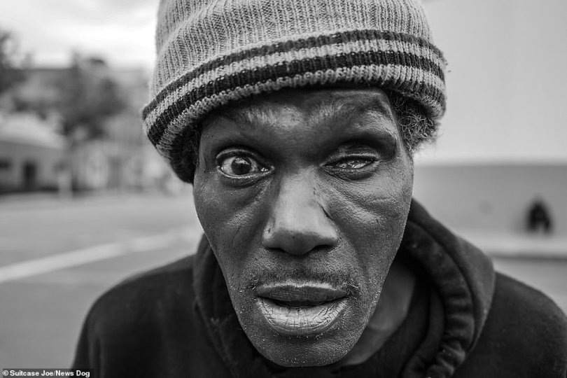 Pictured:A man with only one eye poses for the camera on Skid Row.Skid Row is the location of one of the largest stable populations of homeless people in the U.S. with over 5,000 inhabitants, 3,000 of which sleep in tents or on the sidewalk