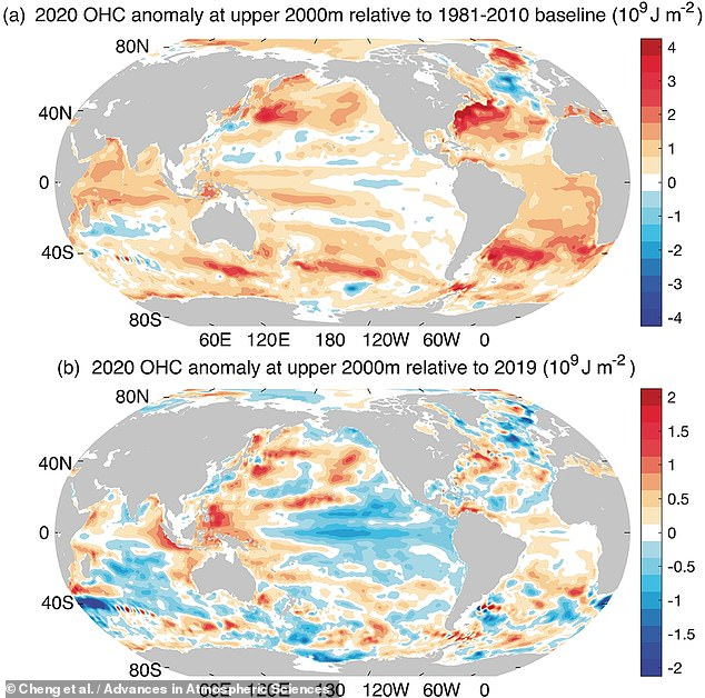 Chinese experts said that a 'severe risk' is posed to humanity by the rising temperatures , which continue despite the COVID-related dip in emissions last year. Pictured, the difference in 'ocean heat content' between 2020 and the 1981–2010 baseline (top) and 2019 (bottom)